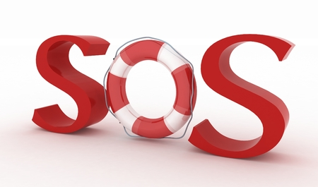 life belt: Red text SOS with life belt on the white   Stock Photo
