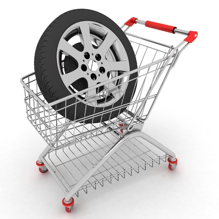 3D Shopping cart with wheel  Conception of purchase of repair parts for a car photo