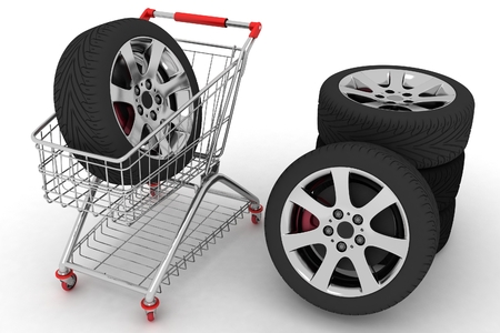 purchase: 3D Shopping cart with wheels  Conception of purchase of repair parts for a car