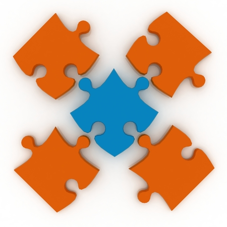 jig saw: Colorful shiny puzzle  3d illustration