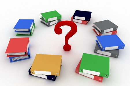 Colored office ring binders  with question-mark in a center  3d illustration isolated on the white background  illustration