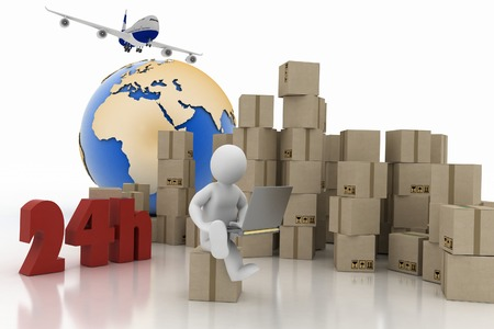 executing: Man with a laptop sitting on the box , executing online delivery of goods in the stream 24 hours  Logistics concept