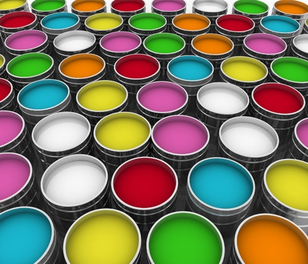 ink stain: open buckets with  paint Stock Photo