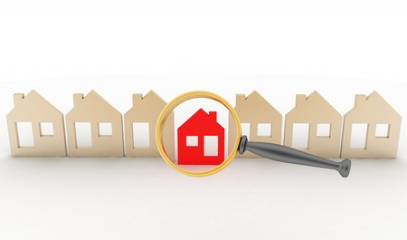 row houses: Magnifying glass selects or inspects a home in a row of houses