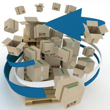 Cardboard boxes around pallets  Shipping concept  3d illustration on white background