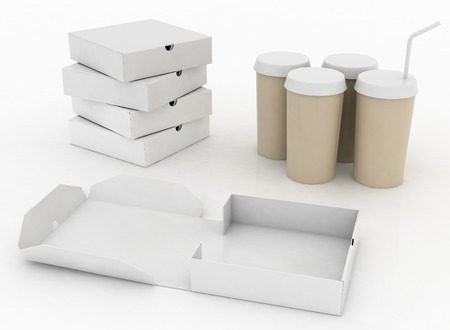 White boxes for pizza and white  containers for cola with tubule  photo