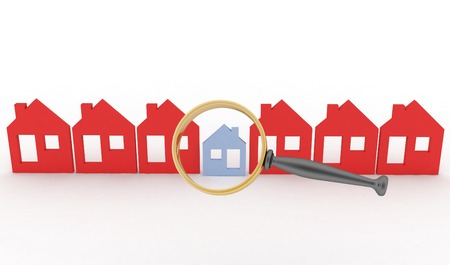 row houses: Magnifying glass selects or inspects a home in a row of houses  Concept of search of house for residence, real estate investment, inspection  Stock Photo