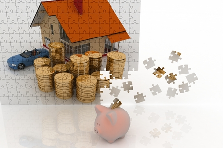 house, machine and money, drawn on puzzles and piggy bank on white background  photo
