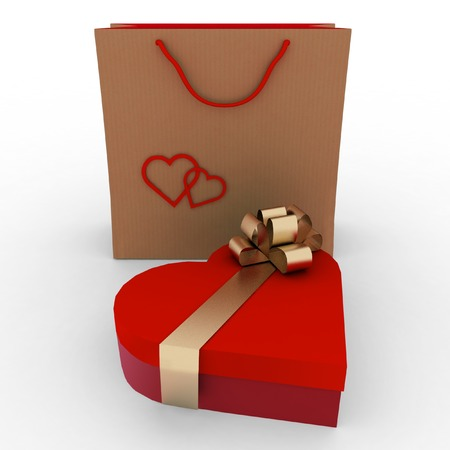 box as heart form with a gold bow  and bag for a gift on a white background photo
