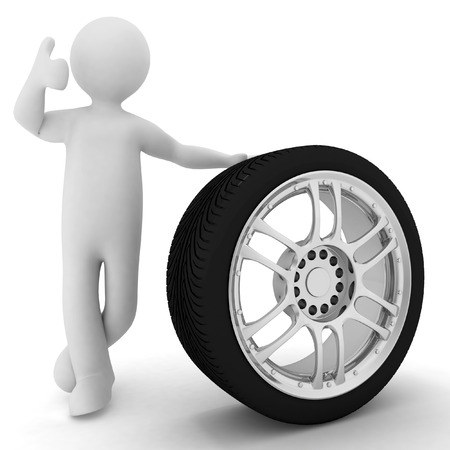 alloy wheel: Man advertises car service on a white background