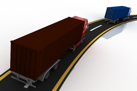 move controller: Trucks on freeway  3d render illustration  Concept of logistics, delivery and transporting by freight motor transport  Stock Photo