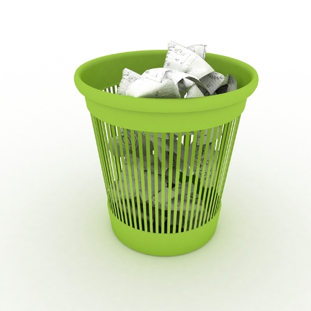 recycle plastic: Basket for garbage  3d illustration on white background Stock Photo