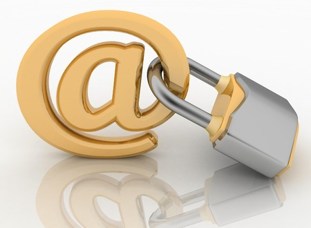security symbol: E-mail symbol with lock  Internet security concept