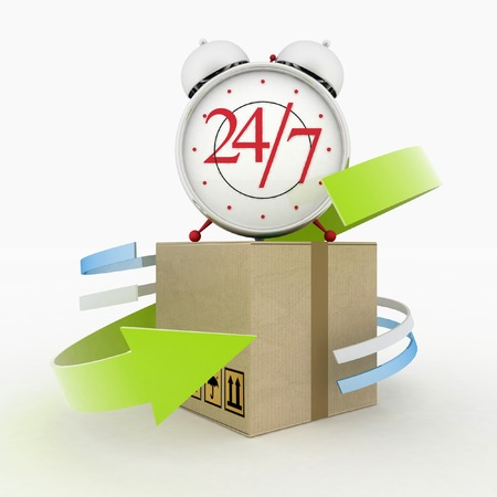 overnight delivery: Executing online delivery of goods in the stream 24 hours  Logistics concept Stock Photo