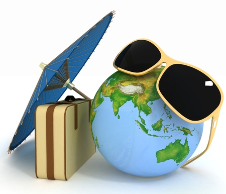 3d suitcase, globe and umbrella   photo