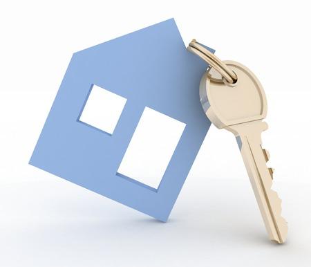 3d model house symbol with key  photo