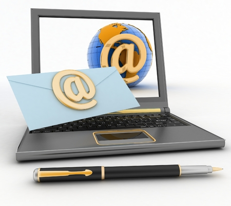 Laptop with incoming letter via e-mail  3d render illustration illustration