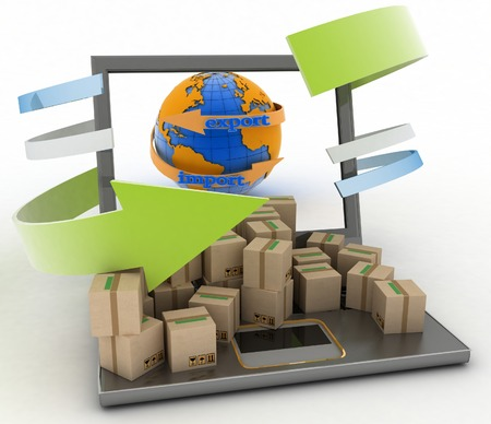 overnight delivery: Import and export arrow around earth for business  Concept of online goods orders worldwide  3d illustration on white background Stock Photo