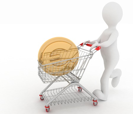 inwardly: person rolls the shopping cart with coin of euro inwardly