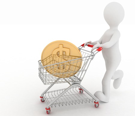inwardly: person rolls the shopping cart with coin of dollar inwardly