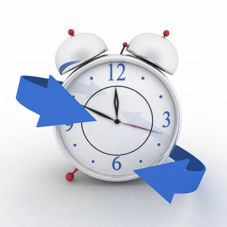 Alarm-clock with blue arrows  3d isolated icon on white