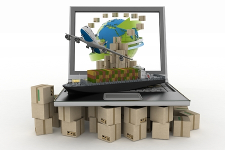 Cardboard boxes around globe on laptop screen, cargo ship and plane  Concept of online goods orders worldwide