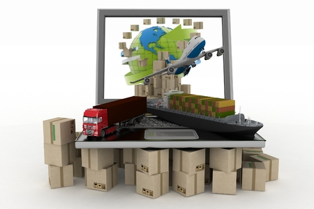 Cardboard boxes around globe on laptop screen, cargo ship, truck and plane  Concept of online goods orders worldwide