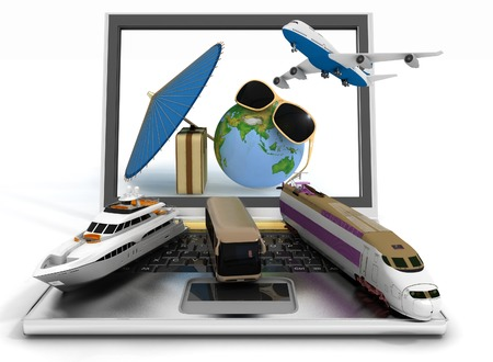 Traffic resources with suitcase, globe and umbrella on laptop screen  Travel and vacation concept  Trendy signs - summer and journey  Elements of this image furnished by NASA  3d render illustration illustration