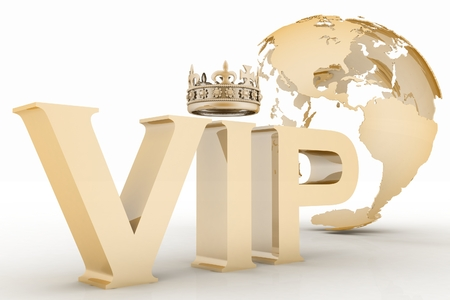 VIP abbreviation with a crown  3D text on a globe background photo