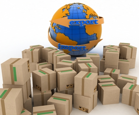 overnight delivery: Import and export arrow around earth for business  Concept of buying goods worldwide  3d illustration on white background