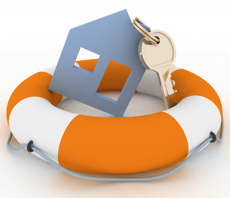 House insurance concept  Icon of House in Life Buoy on a white background photo
