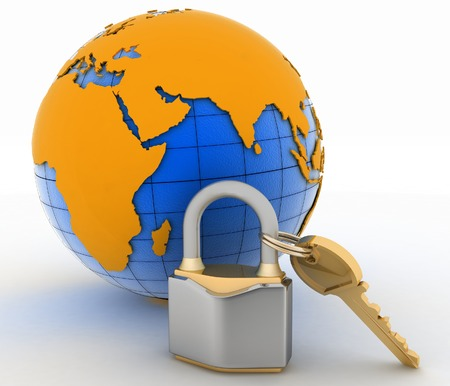 Lock with key and globe on white background  Isolated 3D image photo