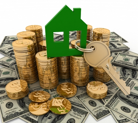 3d house symbol with key on Pile of  money  Conception of growth of mortgage credit photo