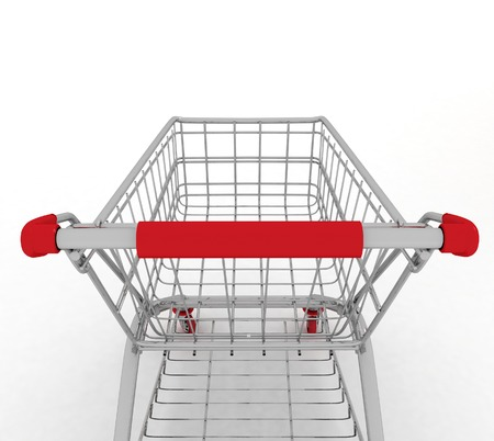 Shopping cart  3d illustration on white background