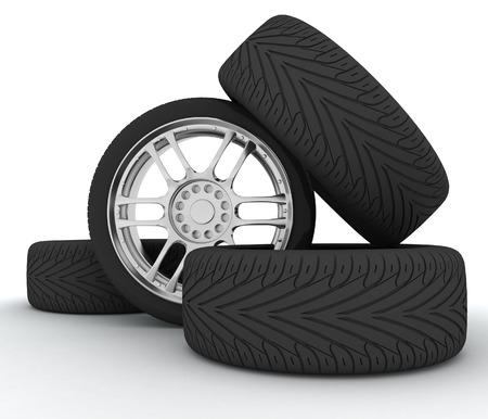 vulcanization: Car Wheels  Concept design  3D render Illustration on White Background