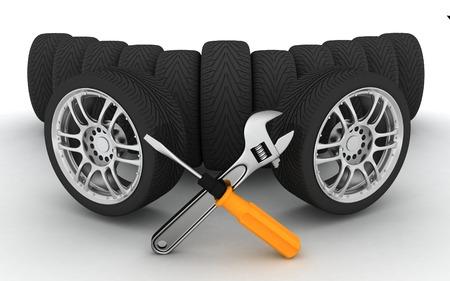 Wielen en hulpmiddelen Autoservice Geïsoleerde 3D-beeld Stockfoto