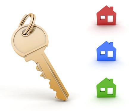 Key and set of houses models  3d illustration on white background illustration