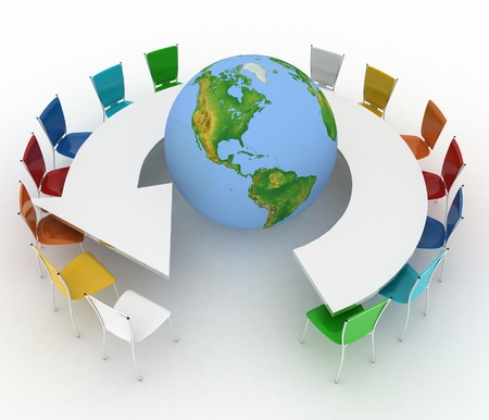 Conference table as an arrow with globe  Concept of global politics, diplomacy, environment, world leadership  3d illustration  Elements of this image furnished by NASA  illustration