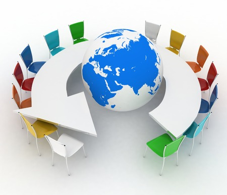 Conference table as an arrow with globe  Concept of global politics, diplomacy, environment, world leadership  3d illustration   illustration