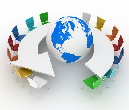 Conference table as an arrow with globe  Concept of global politics, diplomacy, environment, world leadership  3d illustration Stok Fotoğraf - 29489853