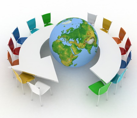 Conference table as an arrow with globe  Concept of global politics, diplomacy, environment, world leadership  3d  photo