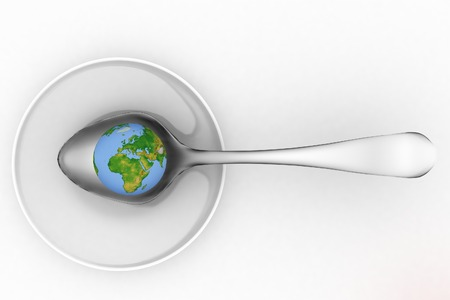 famine: Blue earth on metal spoon  3d render illustration on a white background   Elements of this image furnished by NASA Stock Photo
