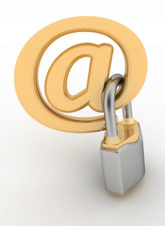 lock symbol: E-mail symbol with lock  Internet security concept   Stock Photo
