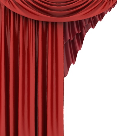 Open red theater curtain, background Stock Photo