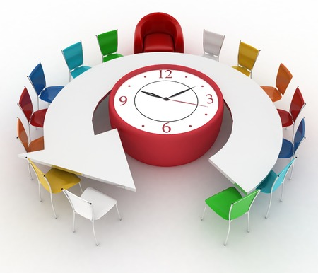 3d arm-chair of chief and group of office chairs at a table as an clock put by a half-round photo
