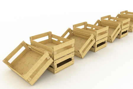 Empty wooden boxes  Containers for fruits and vegetables  3D render Illustration on White Background  illustration
