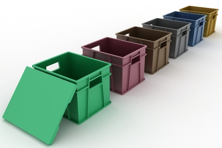 Open plastic containers with a lid  3D render Illustration on White Background  illustration