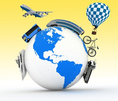 Types of transport on a globe.  Concept of international tourism. photo