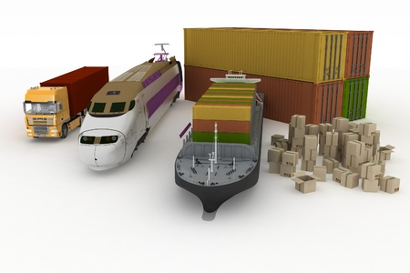 loads: types of transport of transporting are loads.  3d illustration on a white background