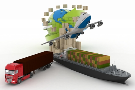 types of transport of transporting are loads  3d illustration on a white background